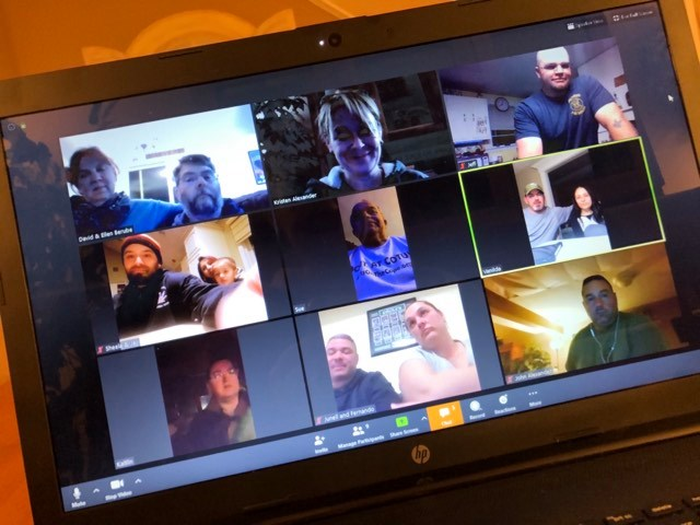 Photo of computer screen of couples taking part in Heroes In Transition's first-ever Zoom meetup.