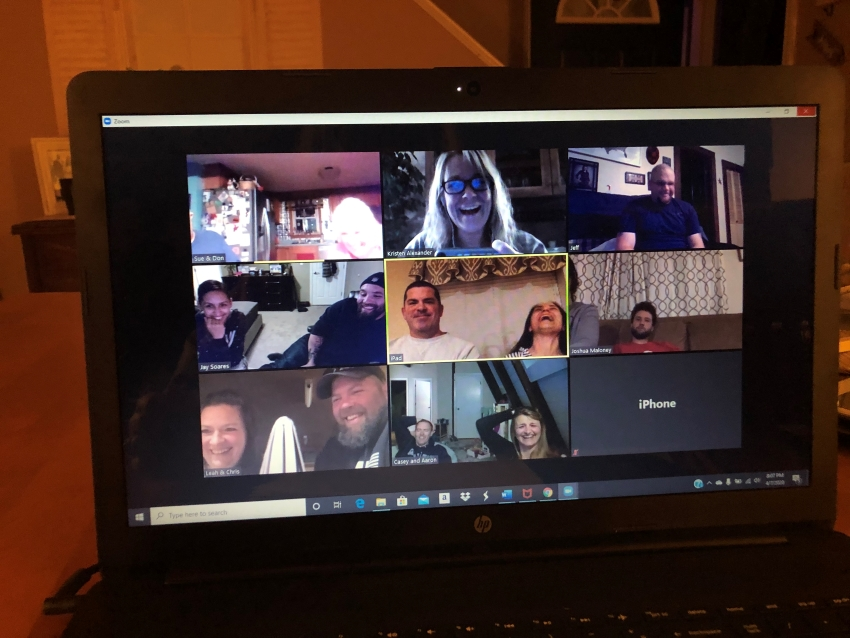 Screenshot of Heroes In Transition's virtual meetup for military couples.