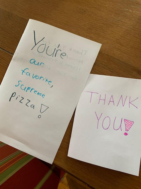 Thank You cards to Supreme Pizza