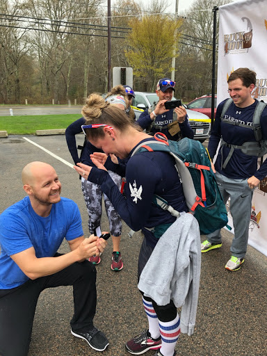Jay Jaime proposes to Colleen Dowling at the end of the 2019 Ruck4HIT on Cape Cod.