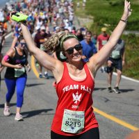 Kerrin Harris running the Falmouth Road Race