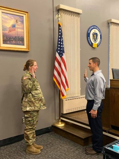 Ryan Stoddard getting sworn into the Army Reserves