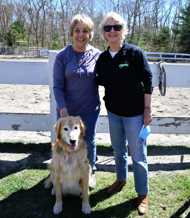 Heroes In Transition President Cyndy Jones with Yawkey Foundation Board Member Judy Walden Scarafile and Jeremy, a service dog.