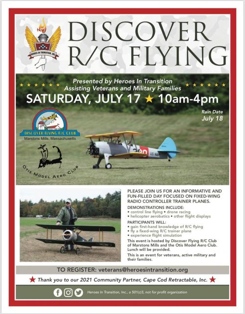 Flier for the Discover R/C Flying event for veterans and their families on July 27 in Marstons Mills