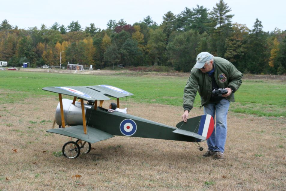 A member of the Discover Flying Club RC in Marstons Mills preparing his RC airplane for flight.